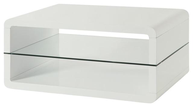Coaster 2 Shelf Coffee Table in Glossy White