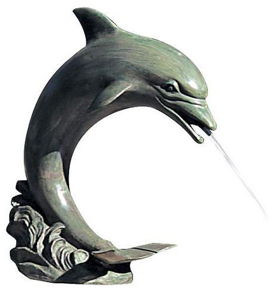 Small Single Dolphin Garden Water Feature Beach Style Garden Statues And