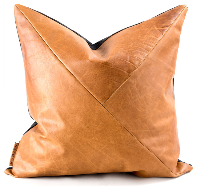 The Adam Cartwright Genuine Leather Accent Pillow Contemporary Decorative Pillows By Hunted Fox