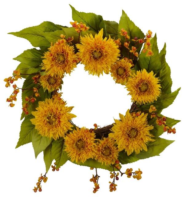 Silk Flowers -22 Inch Golden Sunflower Wreath Artificial Plant.