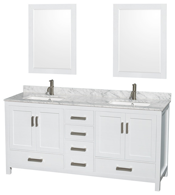 Sheffield 72 White Double Vanity Carrera Marble Top Undermount Square Sink