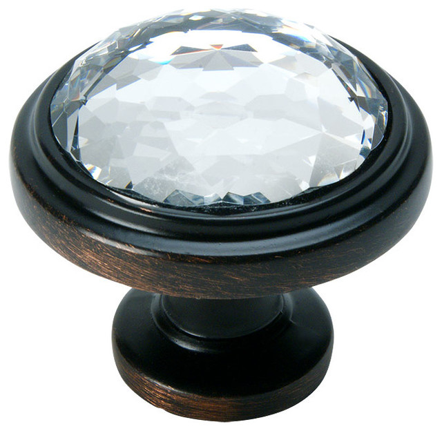 Cosmas 5317ORB C Oil Rubbed Bronze And Clear Glass Round Cabinet Knob  Transitional Cabinet