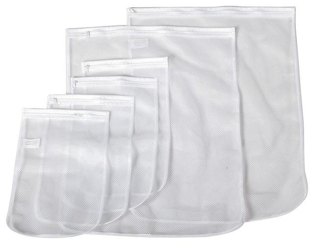 Storagemaniac 6 Pack White Mesh Laundry Bags