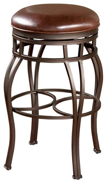 Bella Backless Bar Stool With Swivel Leather Seat