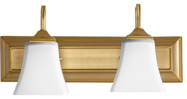 2-light Bath Vanity Light Aged Brass Finish Square Satin Opal White Glass Shades