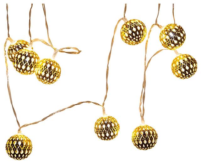 7.4&x27; 16 Led Moroccan Ball Battery String Lights, Fairy Christmas Globe Lights.