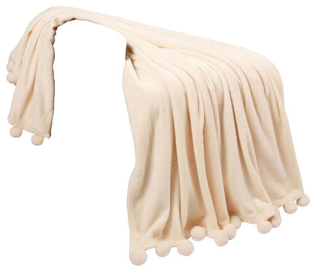 Pom Pom Flannel Fleece Throw Blanket, Antique White.