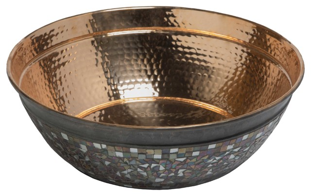 """Bardeen 16"""" Copper Vessel Sink, Naked Copper Sink With Glass Mosaics"""