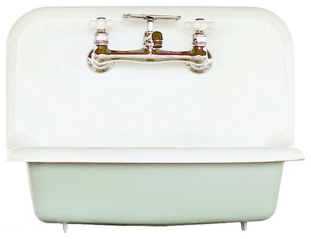 "Antique Style High Back Farm Sink Cast Iron Porcelain Wall Sink Set, Aqua, 24"""