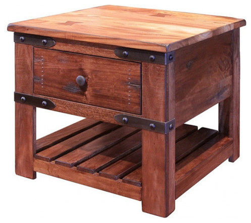 Rustic Solid Wood End Tabe Side Table With 1 Drawer