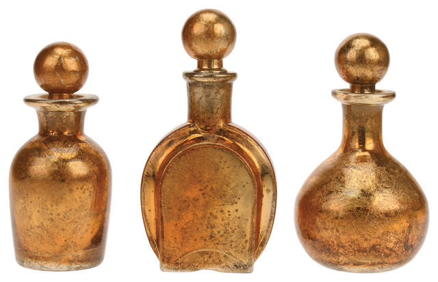 Decorative Bottles With Stoppers Mesmerizing Antique Gold Mercury Glass Decorative Glass Bottles With Stoppers Decorating Design
