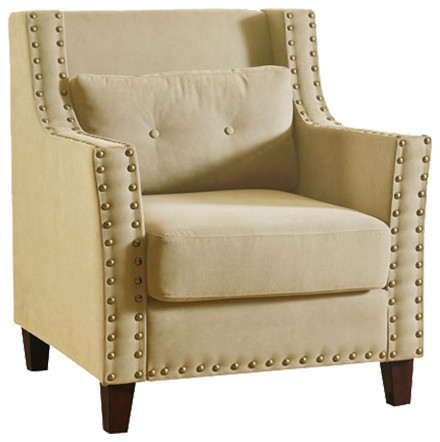 Cibil Accent Chair and Pillow, Beige by Acme Furniture