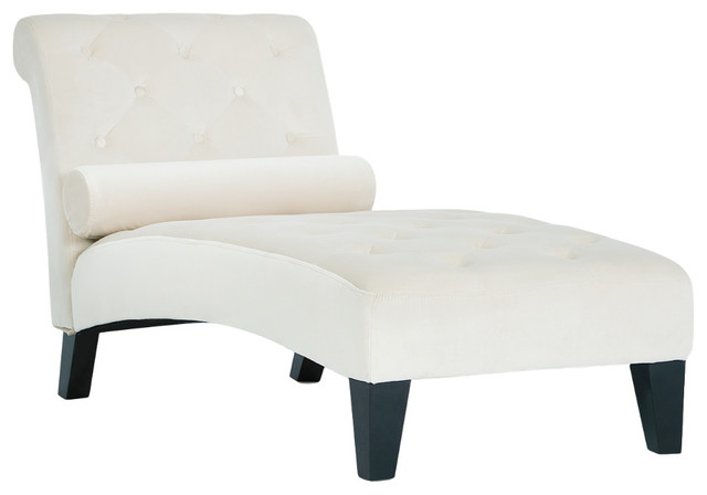 Tufted Top Chaise Lounge, Beige. -1