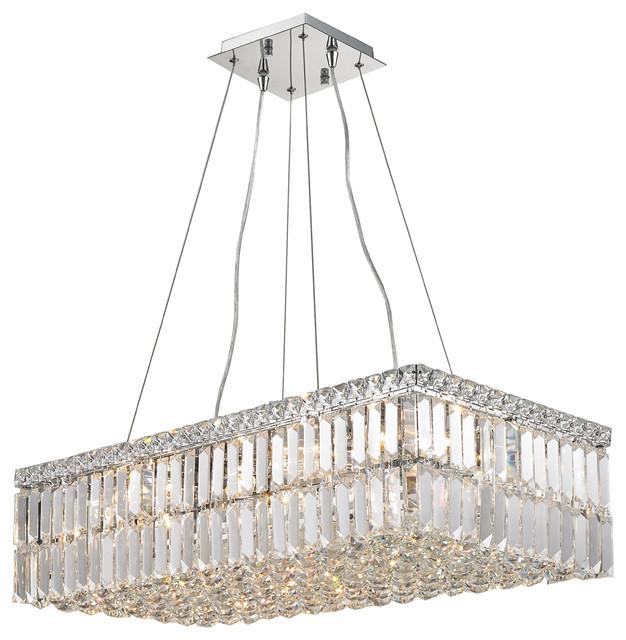 Modern Art Deco Style 16 Light Chrome Clear Crystal Rectangle Chandelier Flat