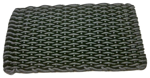 20x38 Texas Nautical Rope Doormat, Black/gray Wave With Gray Insert.