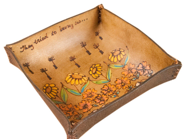 Seeds Pattern With Flowers And Proverb Catch-All Leather Tray, Large.