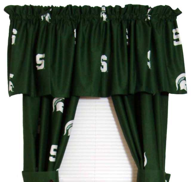 """Michigan State Spartans Printed Curtain Panels 42""""x63""""."""