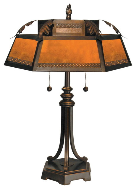 dale tt90399 hex mica table lamp transitional 86041