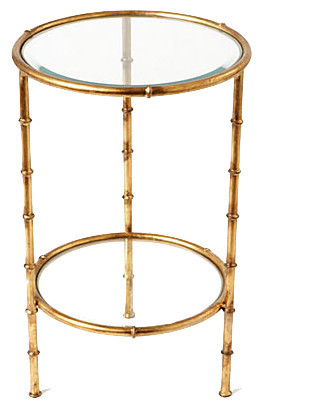Superb Iron Bamboo Table, Antique Gold Transitional Side Tables And End