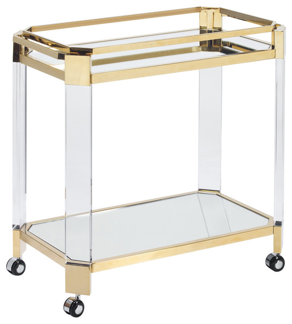 Oden Bar Cart, Polished Gold Steel by LIEVO
