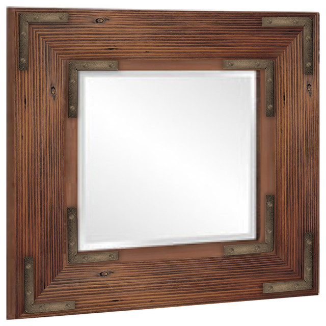 Beveled Wooden Accent Mirror, Brown With Bronze.