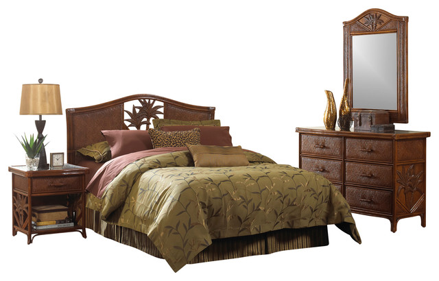 Cancun Palm Tropical Rattan And Wicker 4 Piece Bedroom Furniture Set  Tropical Bedroom Furniture