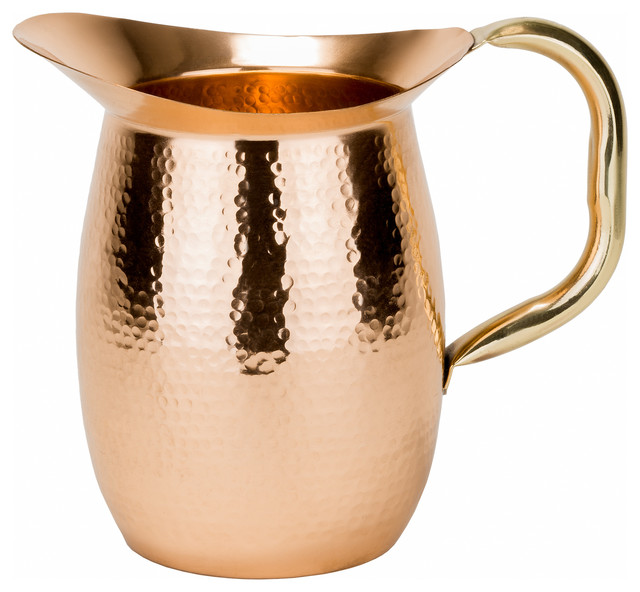 "Solid Copper Hammered Water Pitcher With Brass Handle, 2 Qt., 8 ""x5 ""x8""."