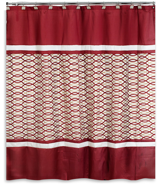 Harmony Burgundy Bath Collection Shower Curtain