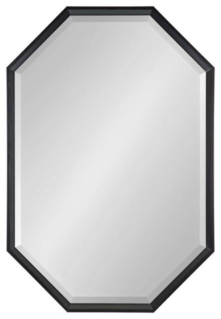 Calter Elongated Octagon Wall Mirror, Black 25.5x37.5