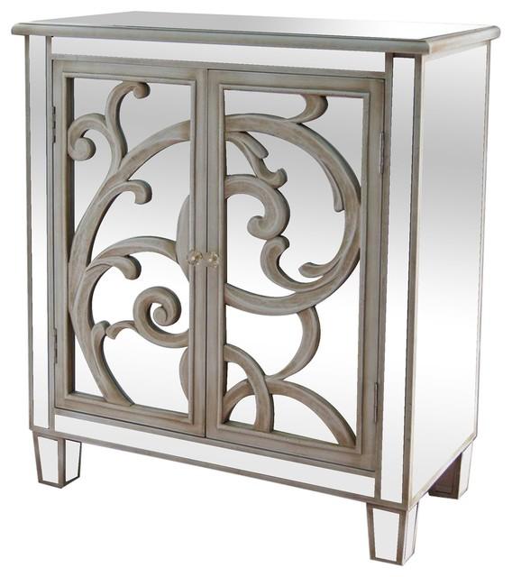 La Salle Mirrored Scroll 2 Door Cabinet Distressed White