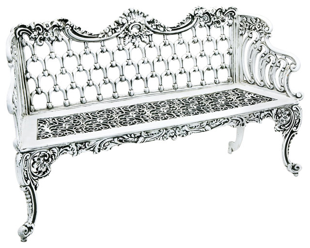 Colonial Large Solid Cast Aluminum Bench, Athenian White.