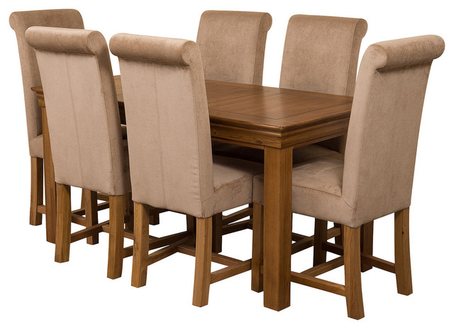 French Chateau Oak Dining Table With 6 Washington Chairs, Beige Velvet Effect