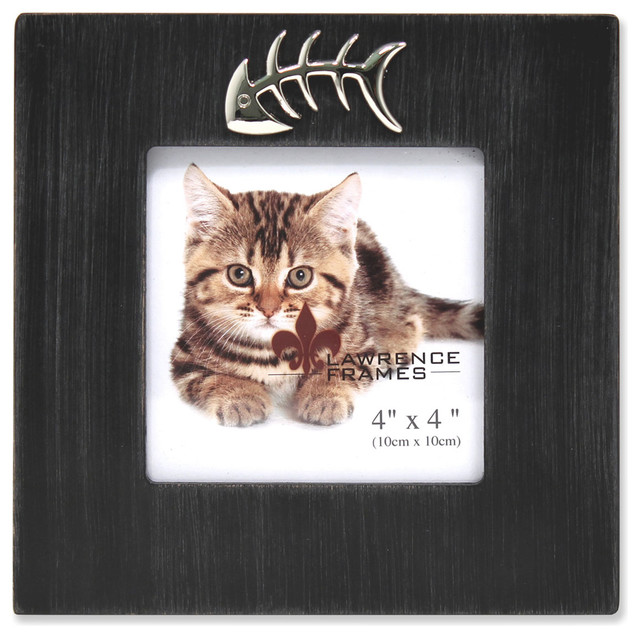 cat frame with fish bone ornament black wash 4x4 contemporary