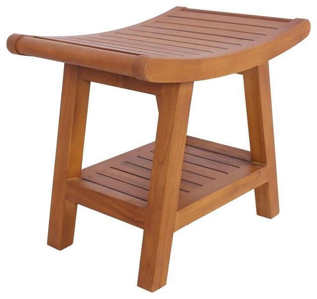Montecito Teak Bath Stool - Transitional - Shower Benches & Seats ...