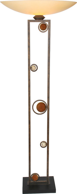 Wheels Of Passion Torchiere Floor Lamp, Bronze.
