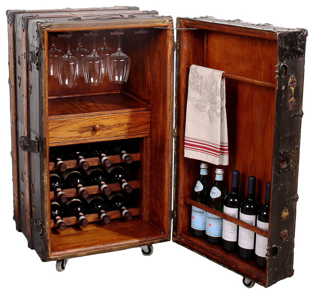 Vintage Steamer Trunk Wine Bar Cabinet Rustic Wine And Bar Cabinets