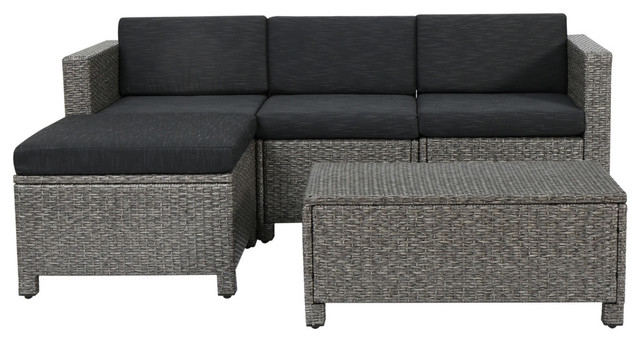 Lorita Outdoor Gray Wicker Sectional Sofa With Black Cushions 5 Piece Set