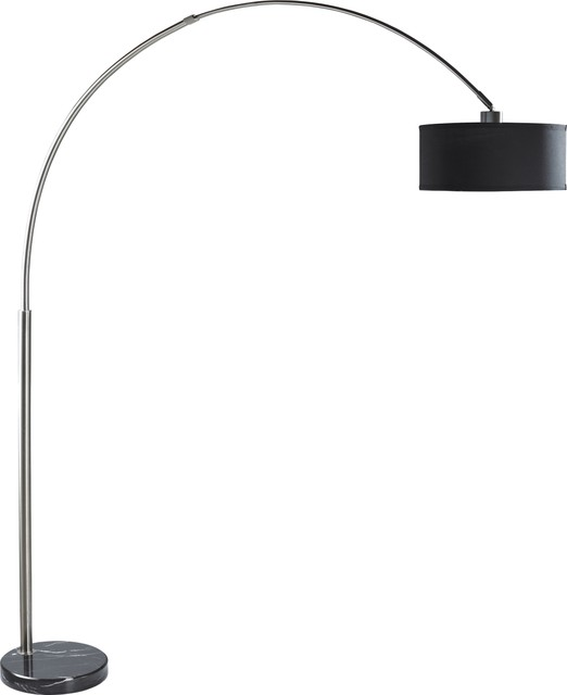 majorq modern fishing pole arch floor lamp marble base black floor - Pole Lamps