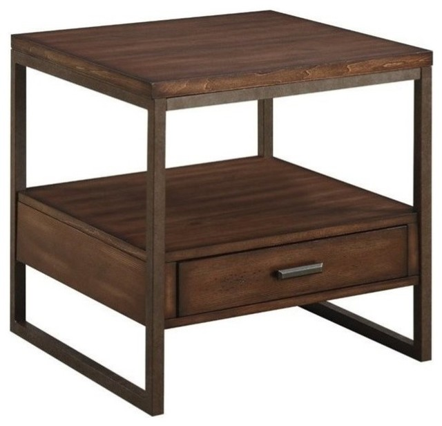 Coaster End Table, Light Brown/Rustic Brown Metal Transitional Side Tables