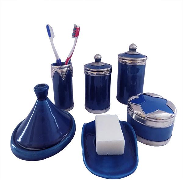 Luxury Blue Silver Bathroom Vanity Accessories Moroccan Pottery 6