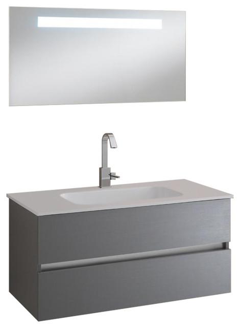 Bali 3-Piece Wall-Mounted Bathroom Vanity Unit, 100 cm, Lead