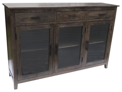 3 Door 3 Drawer Charcoal Green Transitional Buffets