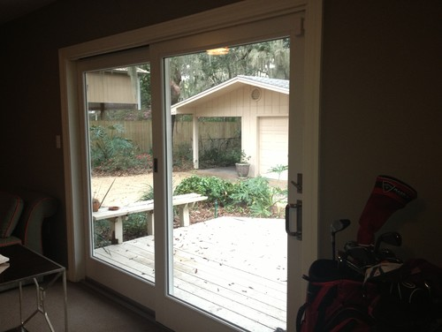Need help with window treatments for 100 wide french for Wide sliding patio doors