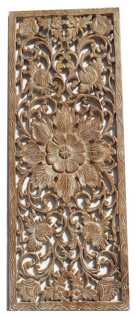 Floral Wood Carved Wall PanelWood Wall Art Large Wood Wall Plaque 35.5 x13.5 & Floral Wood Carved Wall PanelWood Wall Art Large Wood Wall Plaque ...