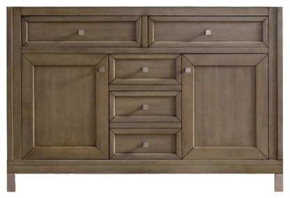 48 Chicago Single Sink Cabinet Only Without Top, White Washed Walnut.