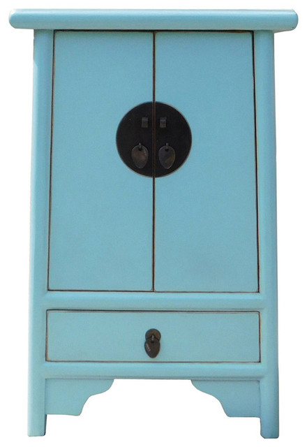 Chinese Oriental Light Blue A Shape End Table Nightsand Hcs1338 Asian Side  Tables