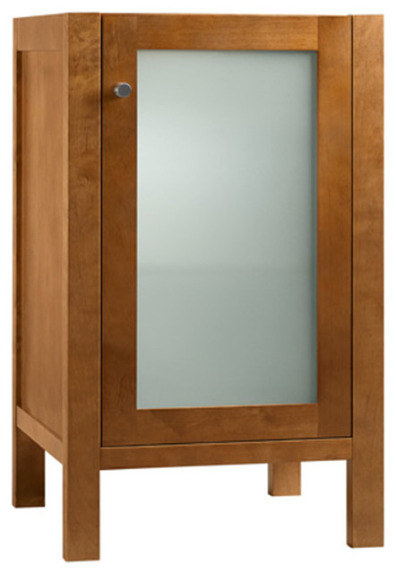 """18"""" Patricia Bathroom Vanity Cabinet With Frosted Glass, Natural Cherry."""