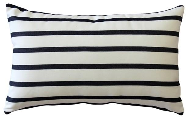 """Pillow Decor, Sunbrella Lido Indigo Stripes Outdoor Pillow, 12""""x20""""."""