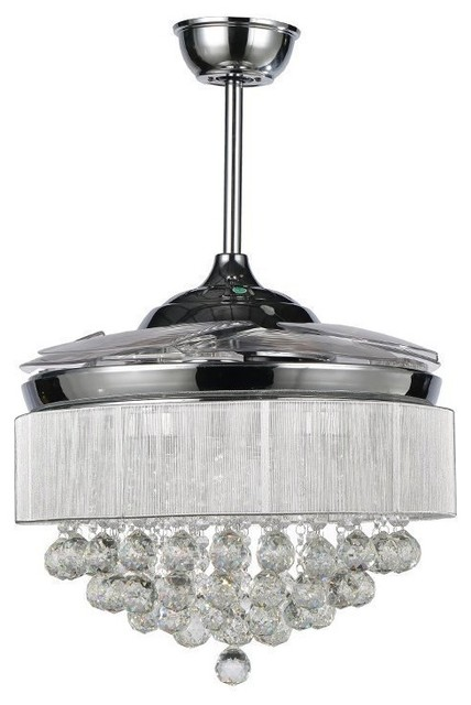 ParrotUncle 42 Retractable Modern LED Crystal Ceiling Fan