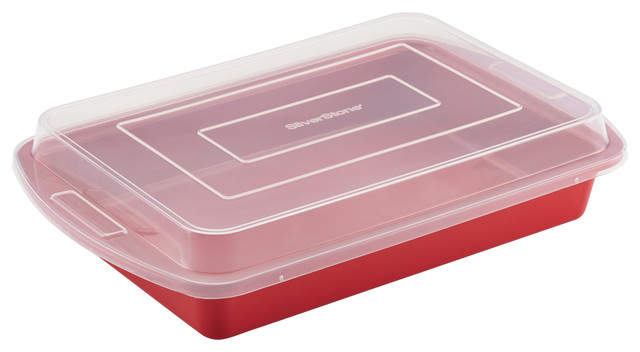 Silverstone Bakeware Nonstick 9x13 Cake Pan, Chili Red.